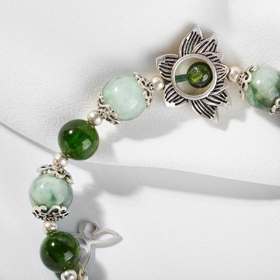 Vòng tay phong thủy nữ đá cẩm thạch phỉ thúy phối diopside và charm hoa bạc 8mm mệnh hỏa, mộc - Ngọc Quý Gemstones