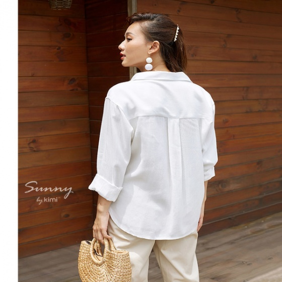 Áo sơ mi linen trắng  Kimi - AS190001