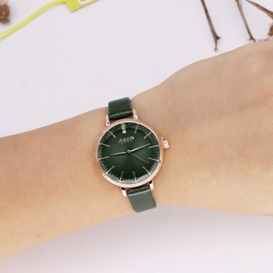 Đồng hồ nữ JA-1115D Julius Hàn Quốc dây da (xanh đậm)
