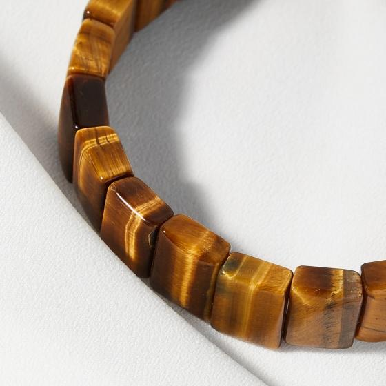 Vòng tay phong thủy đá thạch anh mắt hổ bản vuông 10x12mm mệnh thổ, kim - Ngọc Quý Gemstones