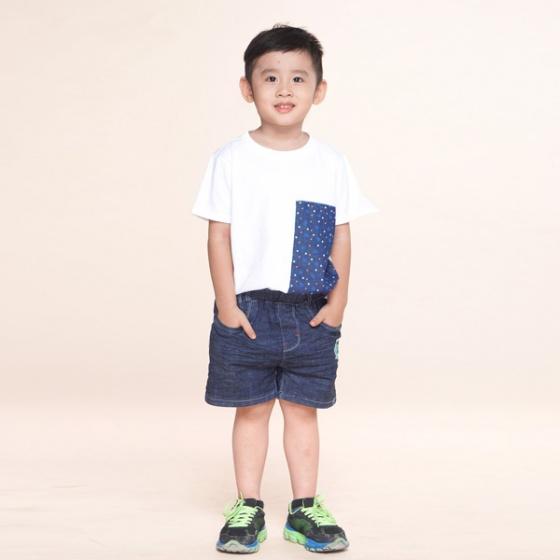 Áo thun bé trai trắng phối xanh UKID234