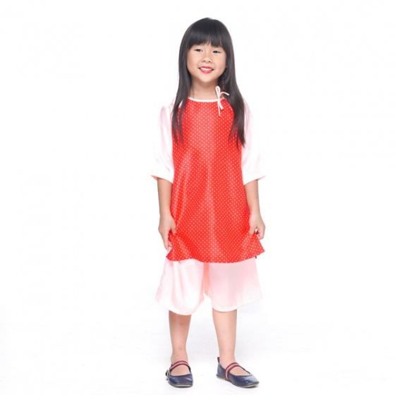 UKID221 - bộ áo dài bé gái (hồng dâu)