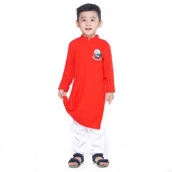 UKID232 - bộ áo dài bé trai (đỏ)