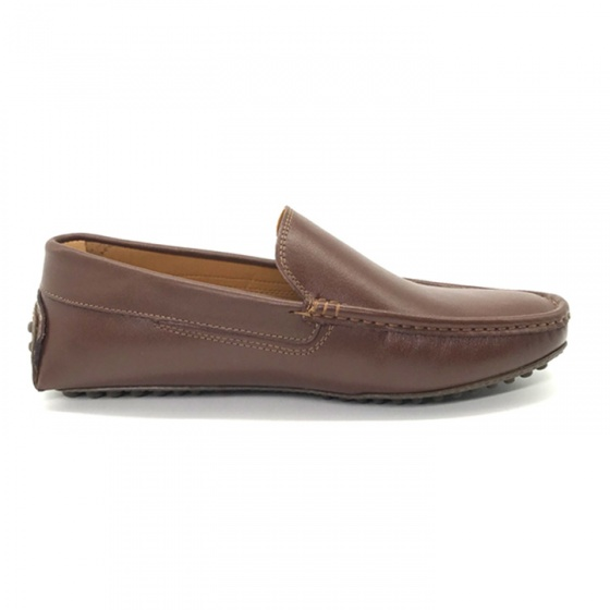 Giày mọi nam màu nâu da bò cao cấp Lucacy TL01N