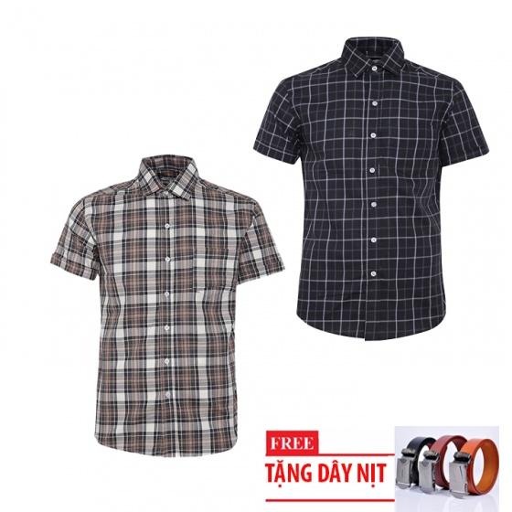Bộ 2 áo sơ mi ngắn tay sọc caro thời trang tặng kèm 1 dây nịt SMC2931