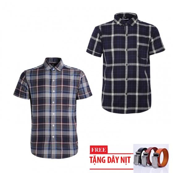 Bộ 2 áo sơ mi ngắn tay sọc caro thời trang tặng kèm 1 dây nịt SMC2940