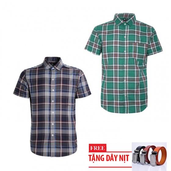 Bộ 2 áo sơ mi ngắn tay sọc caro thời trang tặng kèm 1 dây nịt SMC2944
