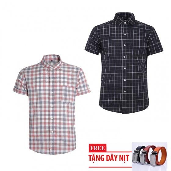Bộ 2 áo sơ mi ngắn tay sọc caro thời trang tặng kèm 1 dây nịt SMC2946