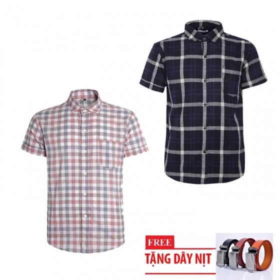 Bộ 2 áo sơ mi ngắn tay sọc caro thời trang tặng kèm 1 dây nịt SMC2947