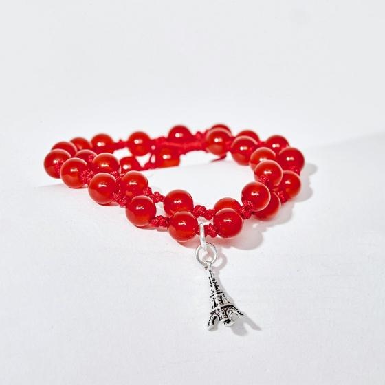 Vòng chuỗi hạt đeo tay 2 line đá mã não đỏ dây rút phối charm tháp mệnh hỏa, thổ - Ngọc Quý Gemstones