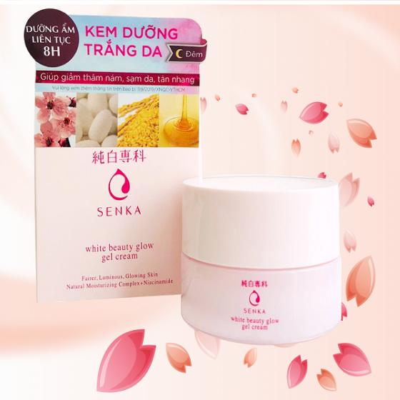 Kem dưỡng trắng da ban đêm Senka White Beauty Glow Gel Cream 50g