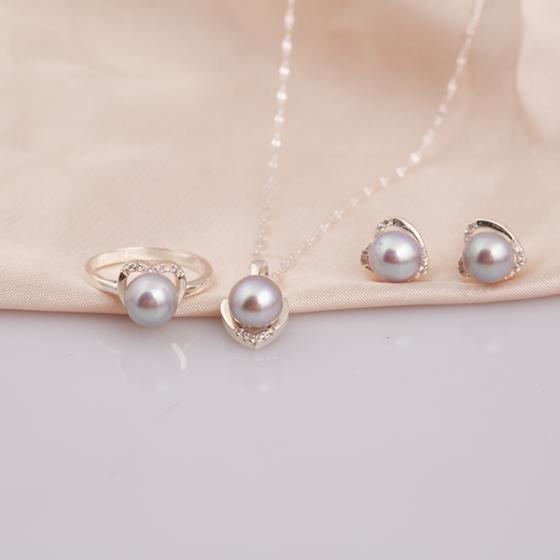 Opal - bộ trang sức bạc đính ngọc trai xám_T07