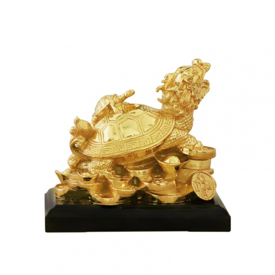 Tượng Long Quy (rùa đầu rồng) mạ vàng 24K