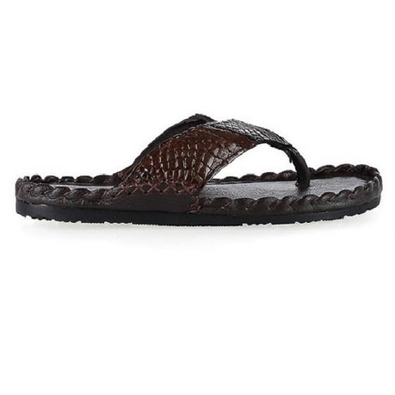 Dép nam Huy Hoàng da cá sấu kiểu đan màu nâu đất HV7230