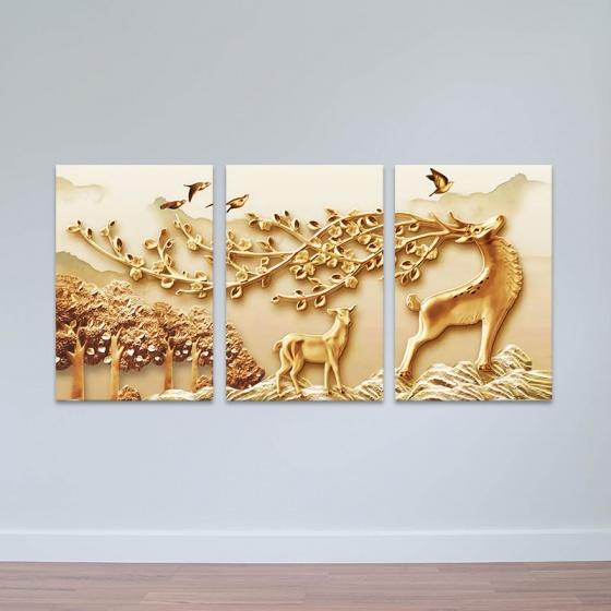 """Bộ 3 tranh treo tường phòng khách """"Nai vàng"""" - tranh hươu nai W3523"""