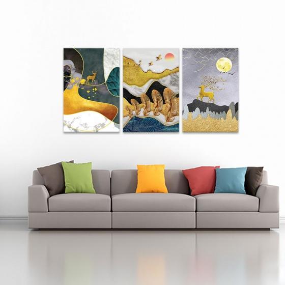 """Bộ 3 tranh treo tường phòng khách """"Hươu ngắm trăng"""" - tranh hươu nai W3524"""