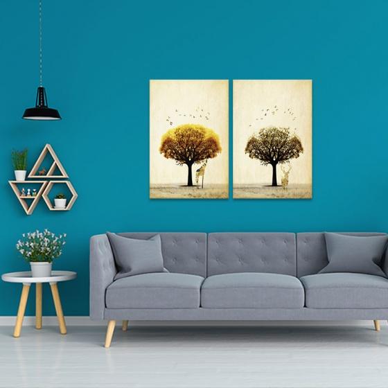 """Bộ 2 tranh treo tường phòng khách """"Hình bóng"""" - tranh hươu nai W3527"""