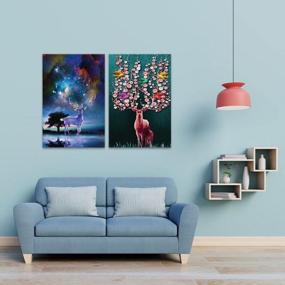 """Bộ 2 tranh treo tường phòng khách """"Huyền bí"""" - tranh hươu nai W3528"""