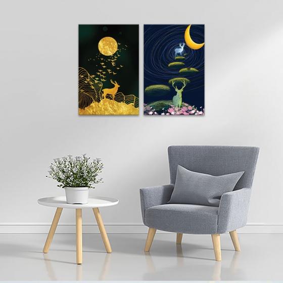 """Bộ 2 tranh treo tường phòng khách """"Nai vọng nguyệt"""" - tranh hươu nai W3530"""