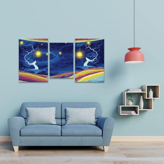 """Bộ 3 tranh treo tường phòng khách """"Đêm rực rỡ"""" - tranh hươu nai W3531"""