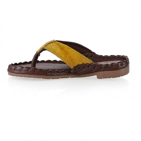 Dép nữ Huy Hoàng da cá sấu màu vàng nghệ HV7242