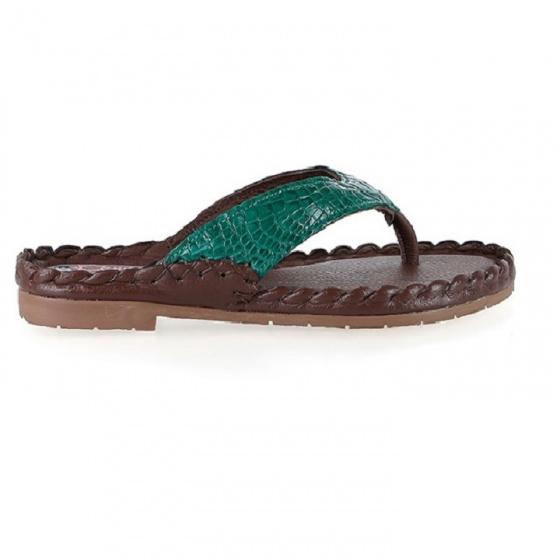 Dép nữ Huy Hoàng da cá sấu màu xanh lá HV7243