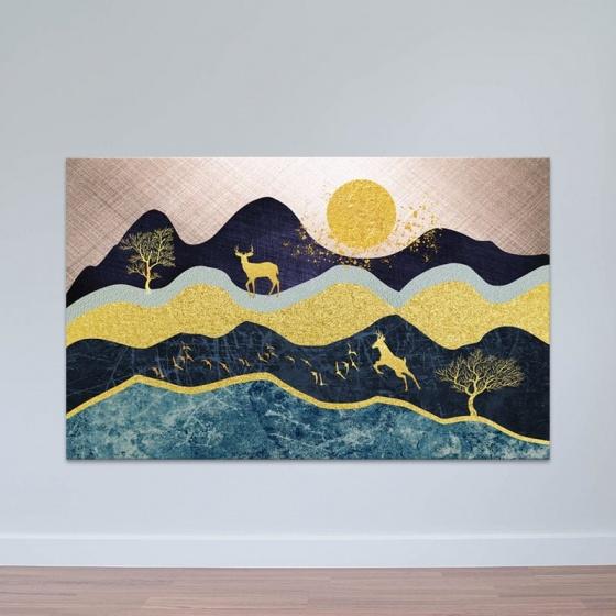 """Tranh treo tường phòng khách """"Đêm trăng và nai"""" - tranh hươu nai W3536"""