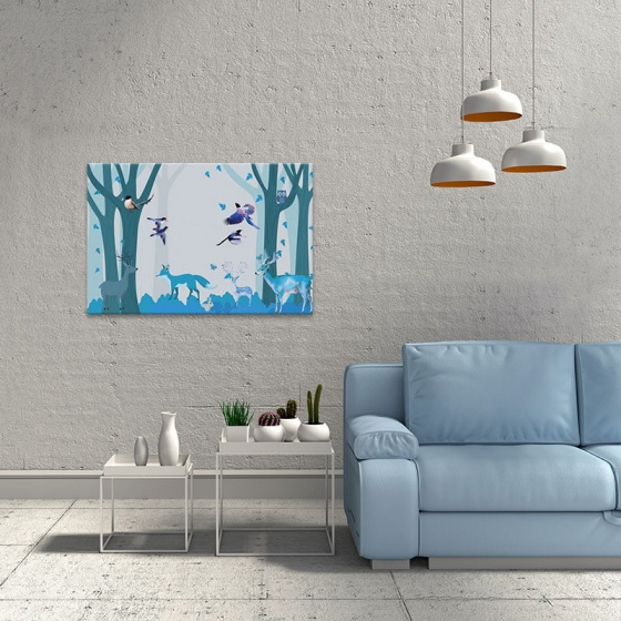"""Tranh treo tường phòng khách """"Hươu và muôn thú"""" - tranh hươu nai W3537"""