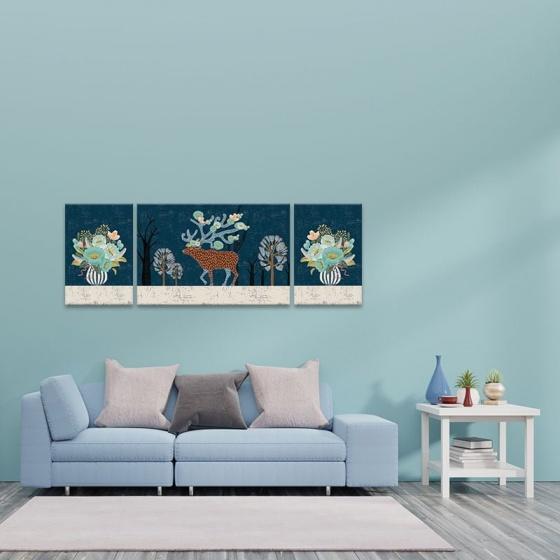 """Bộ 3 tranh treo tường phòng khách """"Hoa và hươu"""" - tranh hươu nai W3556"""