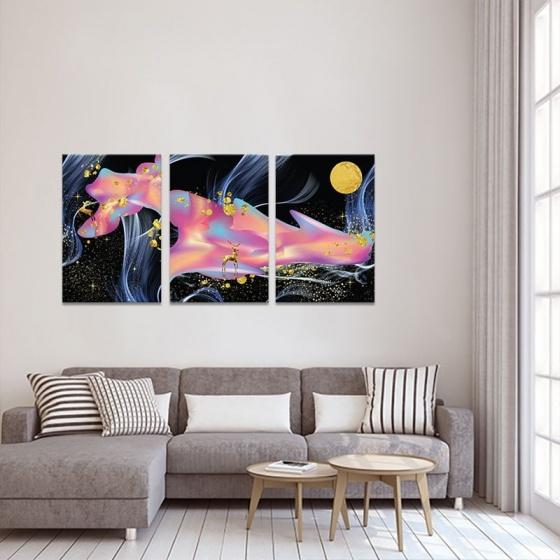 Bộ 3 tranh treo tường phòng khách hươu huyền ảo - tranh hươu nai W3590