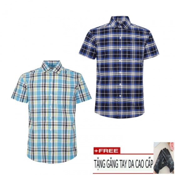 Combo 2 áo sơ mi nam sọc caro Model Fahion cao cấp MSMI6266 (tặng kèm găng tay da)