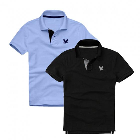 Áo thun nam cổ bẻ vải cá sấu cao cấp dokafashion, Combo 2 (xanh Môn, đen)