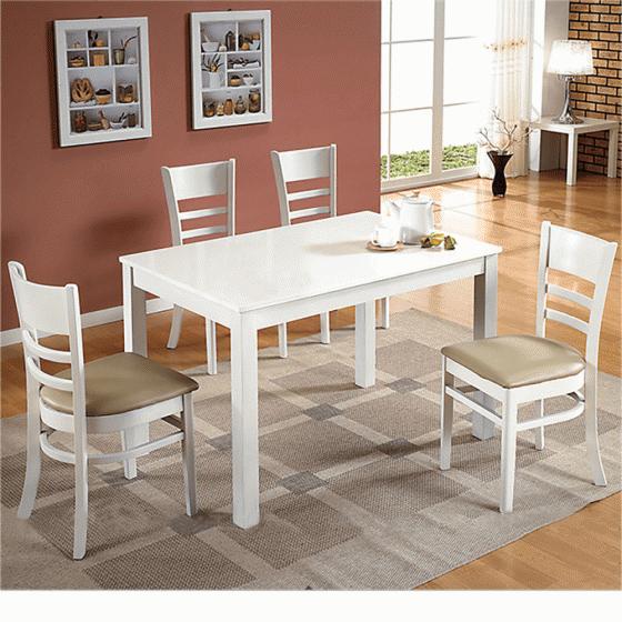 Bộ bàn ăn 4 ghế Cabin gỗ cao su 1m2 (màu trắng) - Cozino