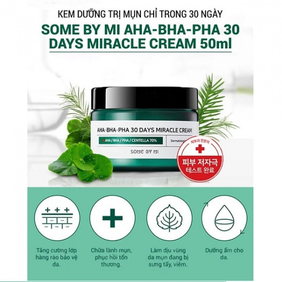 Combo serum + kem trị mụn Some By Mi AHA-BHA-PHA 30 Days Miracle Cream Serum