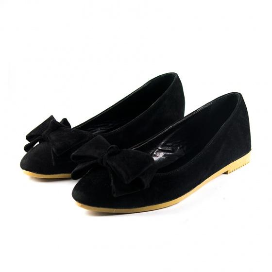 Giày búp bê nhung đen nơ Dolly & Polly