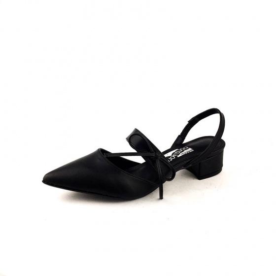 Giày cao gót bít mũi phối nơ ngang Dolly & Polly