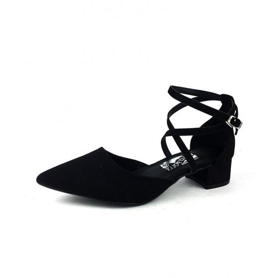Sandal cao gót bít mũi đen lộn Dolly & Polly