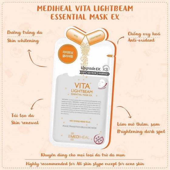 Mặt nạ Mediheal dưỡng sáng da Vita Lightbeam Essential Mask 25ml
