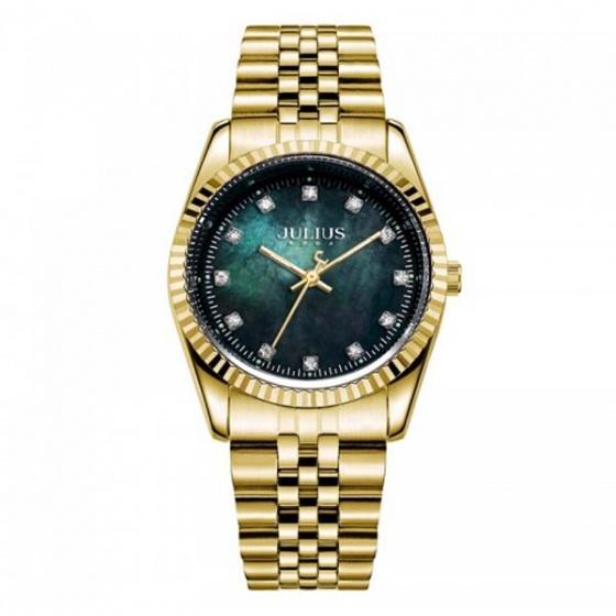 Đồng hồ nam ja-1069me julius hàn quốc dây thép vàng đen