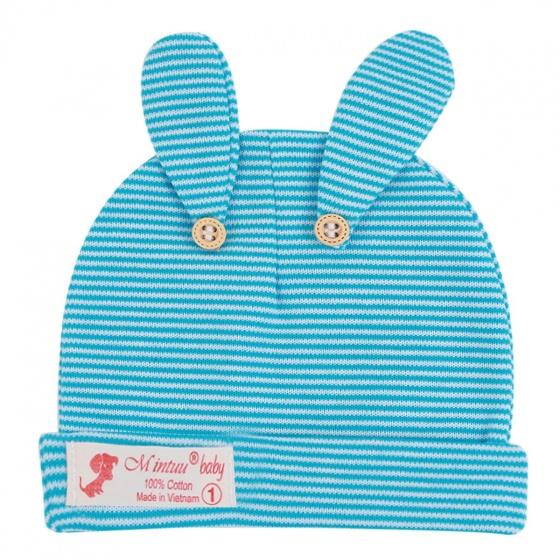 Combo 5 mũ tai thỏ sọc màu Mintuu MT6091 (0-6 tháng)