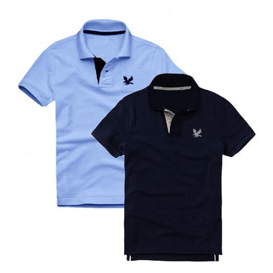Áo thun nam cổ bẻ vải cá sấu cao cấp, combo 2 áo logo thêu rất sắc xảo (xanh môn, xanh đen )