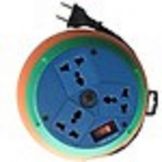 Ổ cắm kéo dài quay tay 3 ổ cắm đa năng dây dài 10m LIOA - DB10-2-10A màu cam