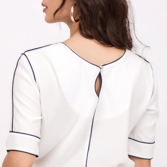 Áo công sở thời trang Eden phom rộng viền đen màu trắng - ASM042