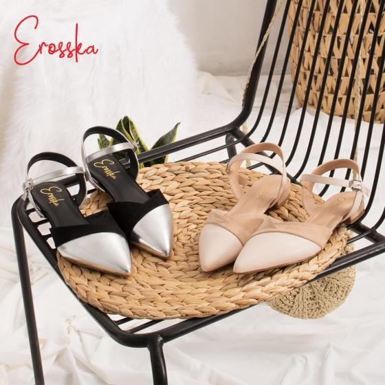 Giày nữ, giày cao gót ktten heel Erosska mũi nhọn tinh tế kiểu dáng cách điệu - EL006 (NU)