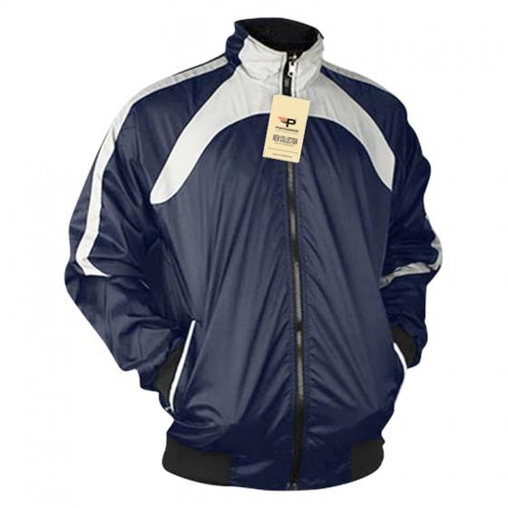 Áo khoác dù nam cổ đứng 2 mặt Pigofashion AKD030 sọc trắng xanh tặng 1 đôi vớ