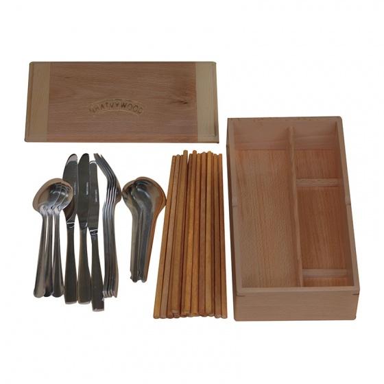 Nhatvywood hộp đựng đũa muỗng thìa có nắp đậy bằng gỗ NV5310