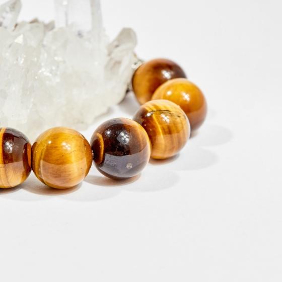 Vòng tay phong thủy nam đá mắt hổ vàng nâu charm tỳ hưu 14mm mệnh thổ, kim - Ngọc Quý Gemstones