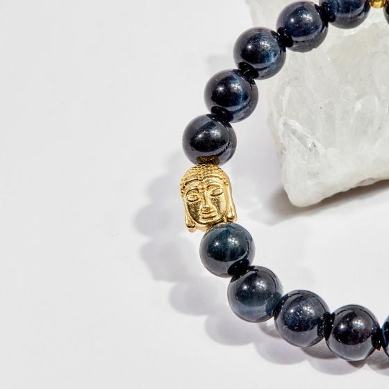 Vòng tay phong thủy nữ đá mắt hổ xanh đen charm phật 8mm mệnh thủy, mộc - Ngọc Quý Gemstones
