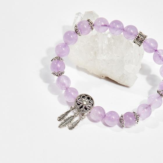 Vòng tay phong thủy nữ đá thạch anh tím phối charm 8mm mệnh hỏa, thổ - Ngọc Quý Gemstones