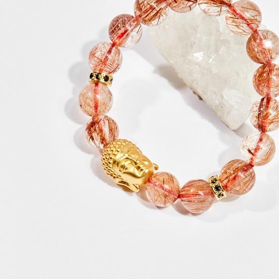 Vòng tay phong thủy đá thạch anh tóc đỏ charm phật 11mm mệnh hỏa, thổ - Ngọc Quý Gemstones